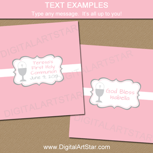 First Communion Candy Bar Wrappers Template Pink and White