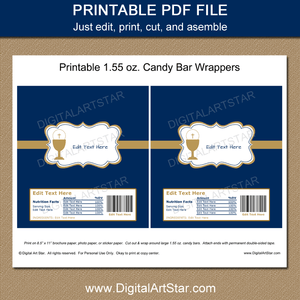 Printable First Communion Candy Bar Wrappers for Boys