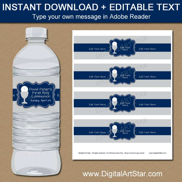 First Communion Decorations - Printable Water Bottle Labels