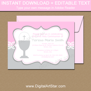 Instant Download First Communion Lace Invitations in Pink and Silver