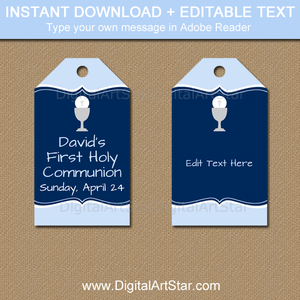 First Communion Tags - Light Blue and Navy