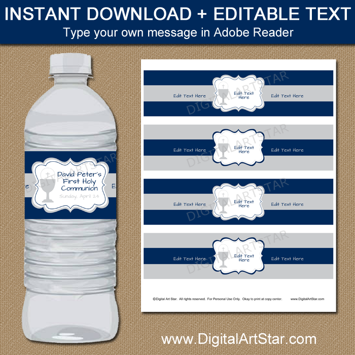 Navy First Communion Water Bottle Labels