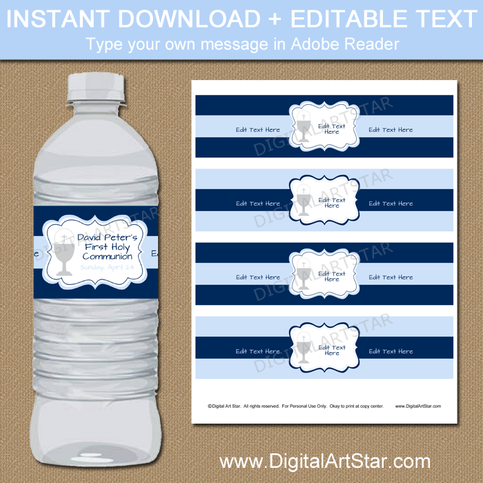 First Communion Water Bottle Labels for Boy