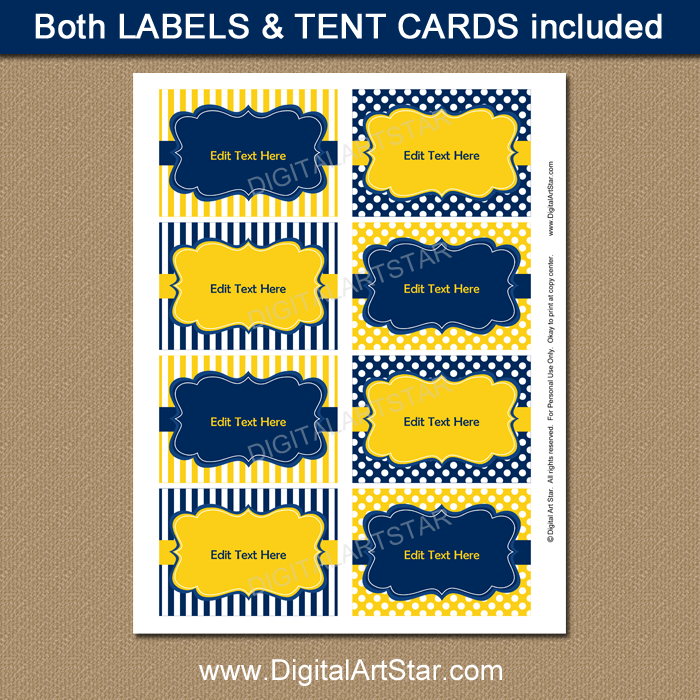 Blue and Yellow Candy Buffet Label Template