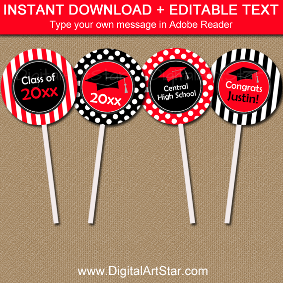 Fun Graduation Cupcake Toppers Template