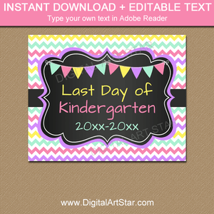 Girl Last Day of Kindergarten Chalkboard Sign Printable