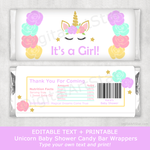 Girl Baby Shower Unicorn Theme Candy Bar Wrappers