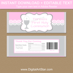 Editable First Communion Candy Bar Wrapper Template for Girl