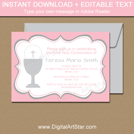Editable First Communion Invitations for Girl