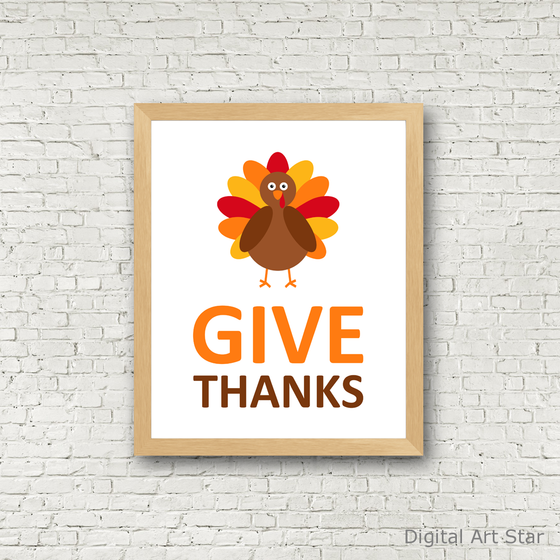 Give Thanks Turkey Printable Wall Art