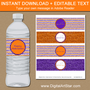 Instant Download Halloween Water Bottle Label Template