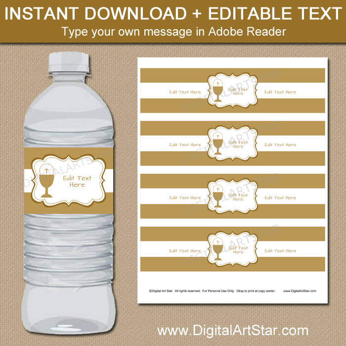 Gold First Communion Printable Water Bottle Labels