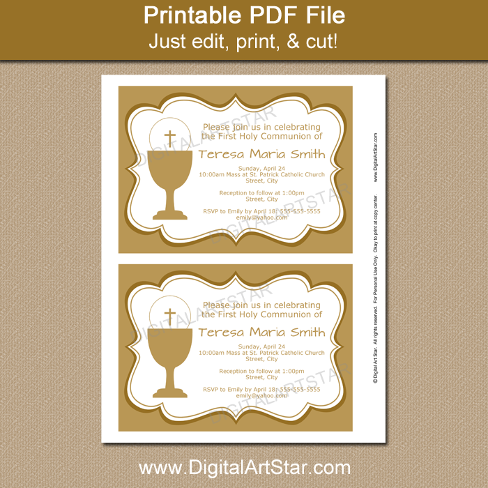 graphic about Printable First Communion Invitation identify Gold 1st Communion Invitation Template