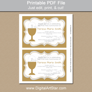 Printable Gold First Holy Communion Invitation Template