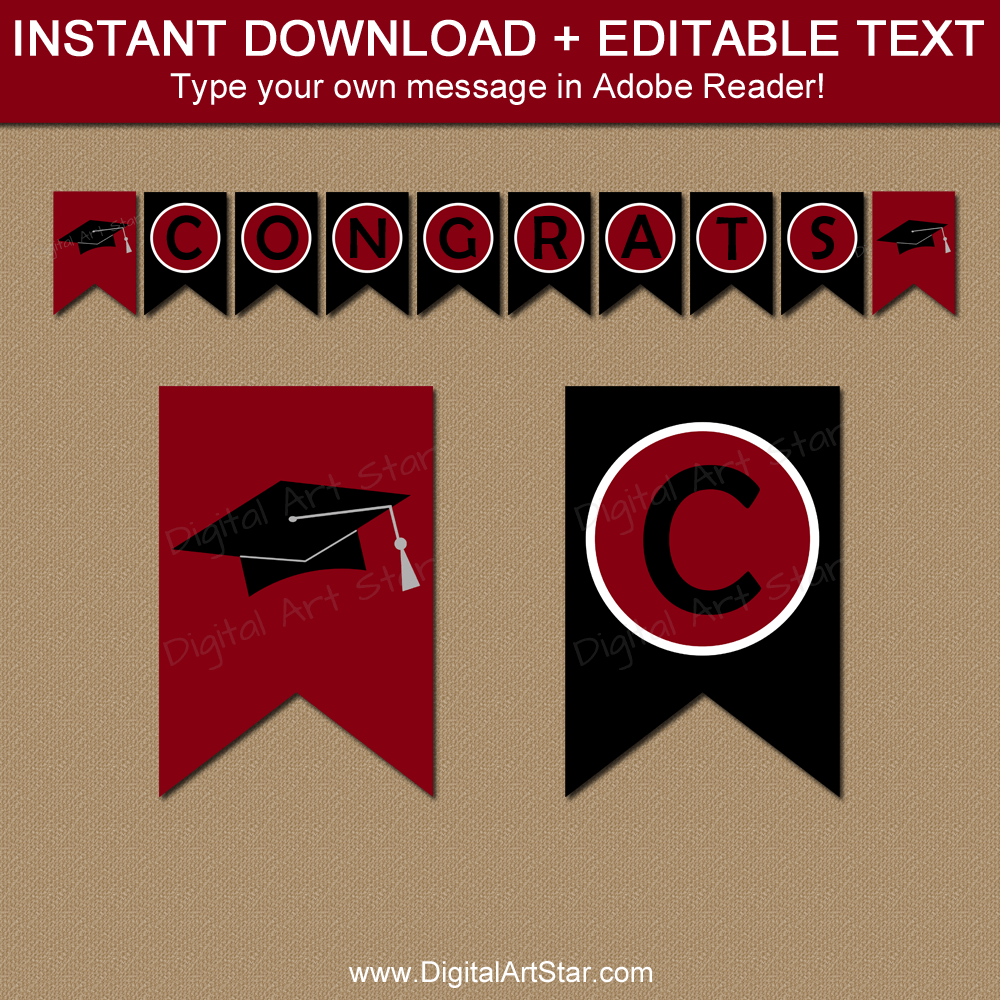 Graduation Banner Printable Burgundy and Black