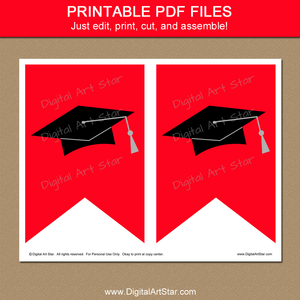 Printable Red and Black Banner for Graduation