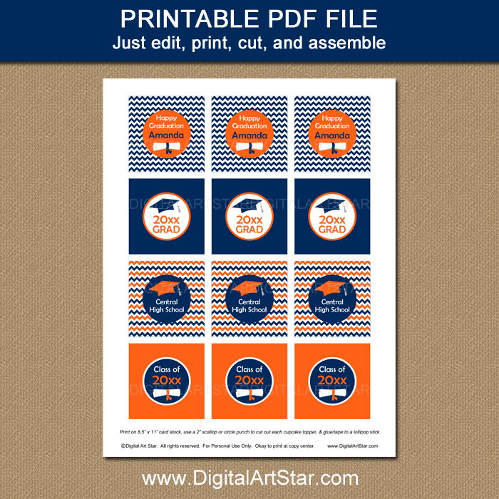Orange and Navy Graduation Cupcake Toppers Printable