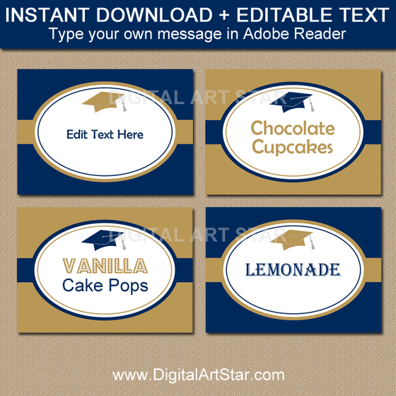 Instant Download Graduation Labels in Navy and Gold