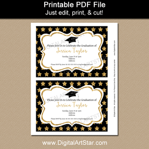 Black White and Gold Graduation Invitation Printable with Gold Glitter Stars