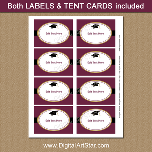 Maroon Black Gold Graduation Party Labels