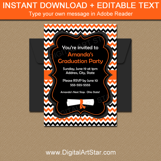 Editable Graduation Invitation Template Orange Black