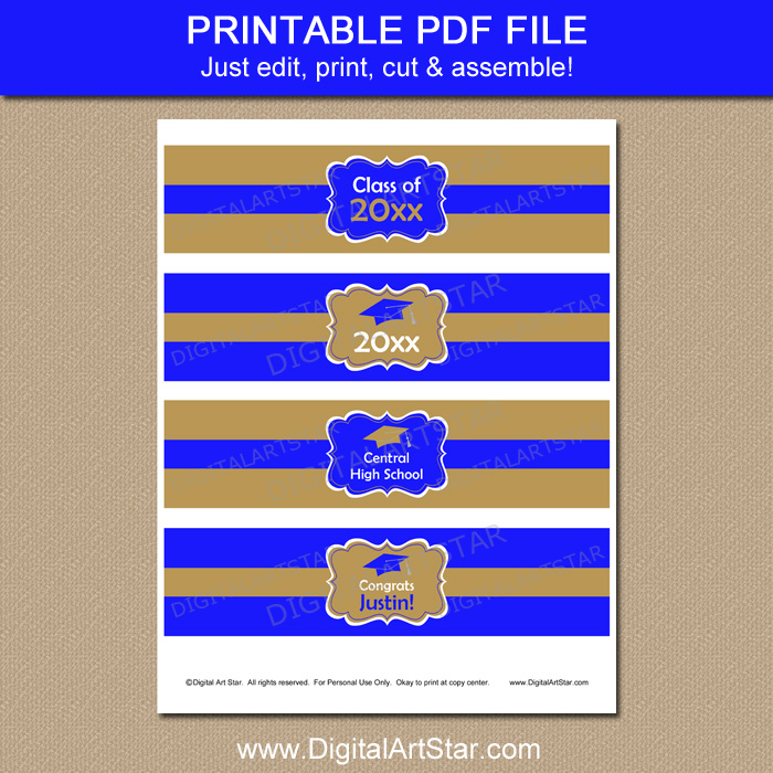 Printable Graduation Water Bottle Labels Instant Download