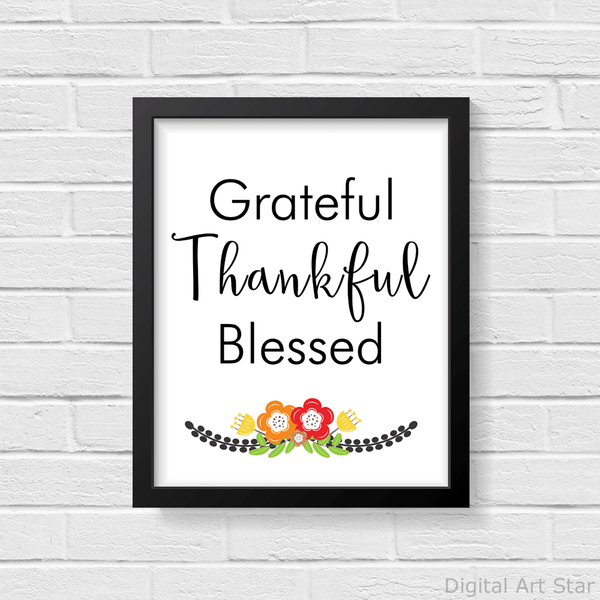 Black and White Grateful Thankful Blessed Floral Wall Art