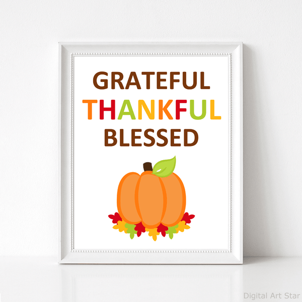 Grateful Thankful Blessed Art Print with Pumpkin and Autumn Leaves