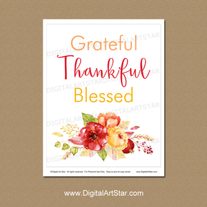 Grateful Thankful Blessed Wall Art for Fall Decorations