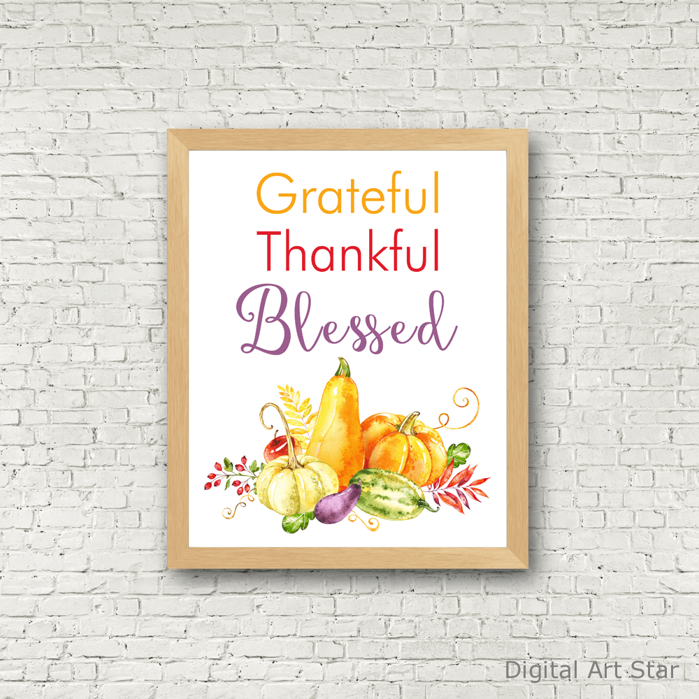 Grateful Thankful Blessed Wall Art with Gourds