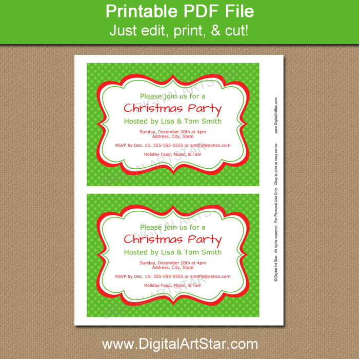 Green Christmas Invitation Template