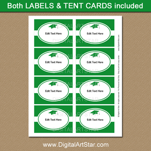 Green and White Graduation Candy Buffet Labels Printable