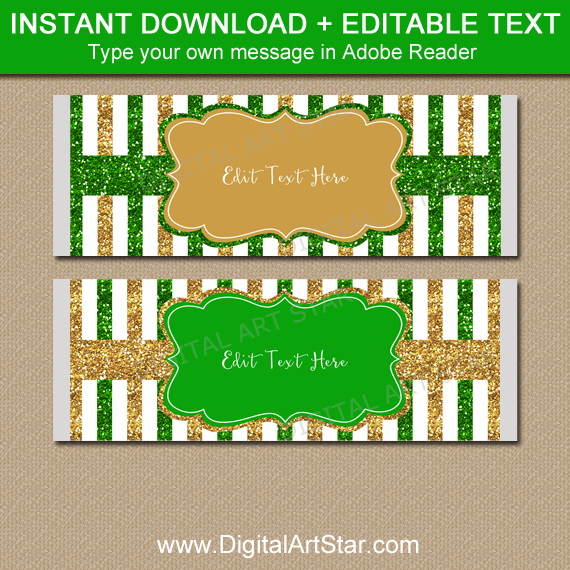 Green and Gold Glitter Candy Bar Wrappers