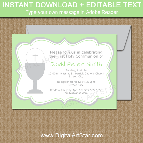 Green and Gray First Communion Invitation Editable Template