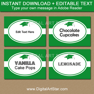 Kelly Green and White Graduation Candy Buffet Labels Editable