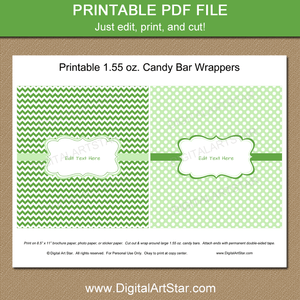 Green and White Printable Candy Bar Wrappers