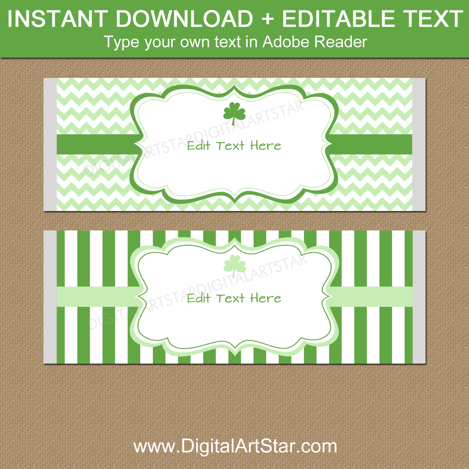 Green and White St Patrick's Day Candy Bar Wrapper Template