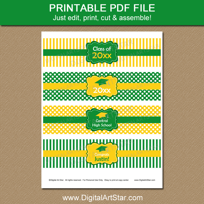 Kelly Green and Yellow Graduation Water Bottle Labels Printable