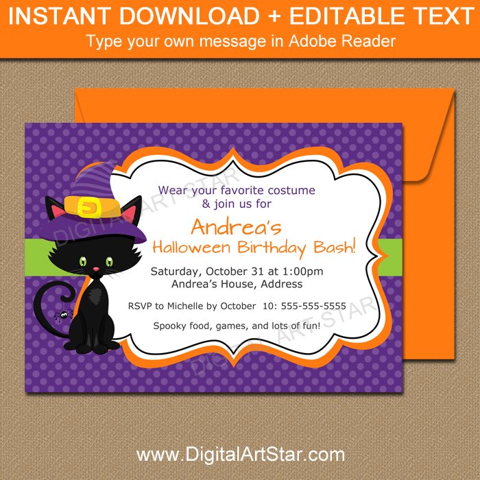 Halloween Birthday Party Invitation for Girl