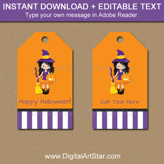 Witch Halloween Birthday Tags Editable Template