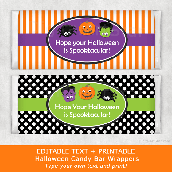 Halloween Candy Bar Wrappers with Monsters, Jack-o-Lantern, Spider