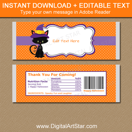 Printable Halloween Party Favors Candy Bar Wrappers