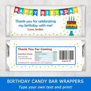 Happy Birthday Candy Bar Wrapper Template with Cake Image