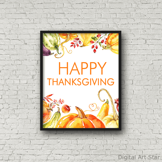 Happy Thanksgiving Sign Printable with Gourds