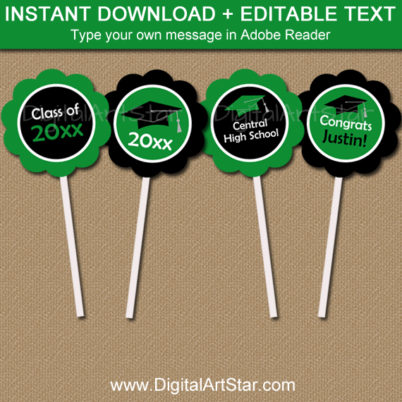 High School Graduation Cupcake Toppers Green and Black