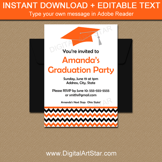 Editable Graduation Invitations for High School Graduation Party