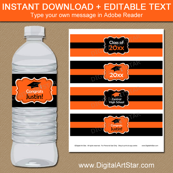 High School Graduation Water Bottle Labels Orange and Black