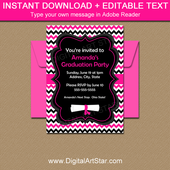 Hot Pink Graduation Invitation Template