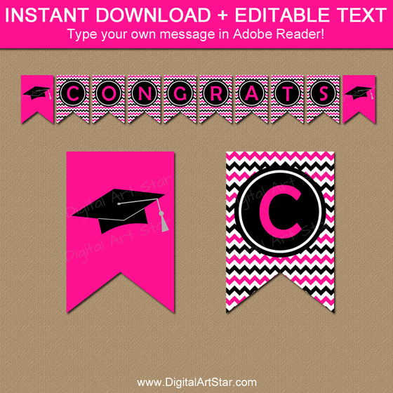 Printable Graduation Banner - Hot Pink and Black Chevron