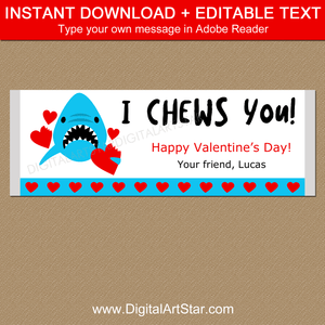 I Chews You Shark Valentine Chocolate Bar Wrapper Template